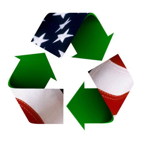 Flag of USA superimposed on a recycle symbol. Isolated on a white background.