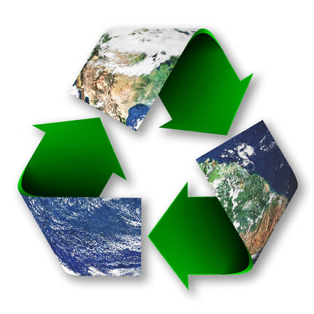 Recycle symbol superimposed upon the planet earth.