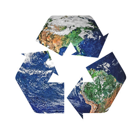 Recycle symbol superimposed upon the planet earth. Isolated on a white background