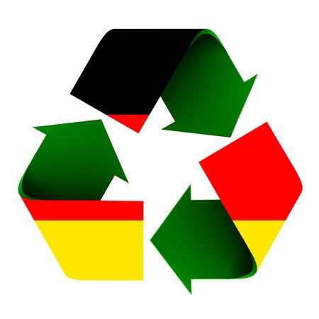 リサイクル マークの上に重ねドイツの旗。白い背景上に分離。