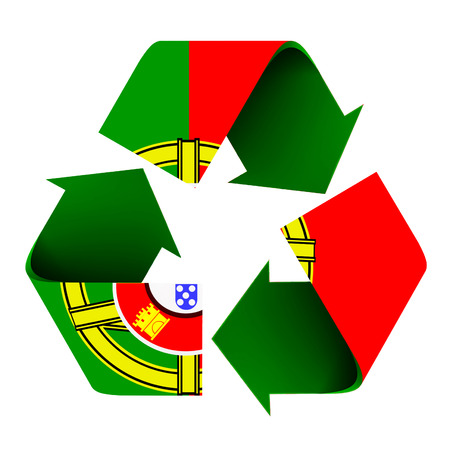 Flag of Portugal superimposed on a recycle symbol. Isolated on a white background.