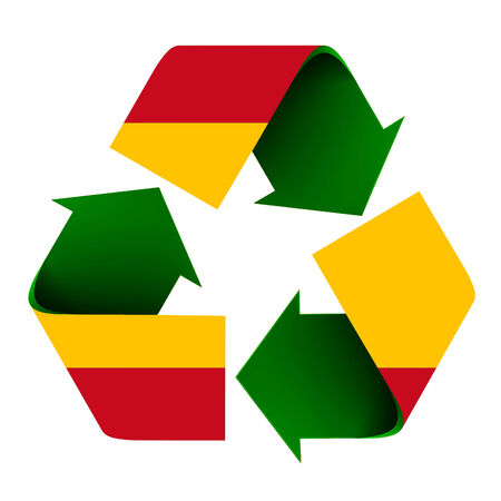 Flag of Spain superimposed on a recycle symbol. Isolated on a white background.