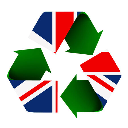 Flag of the UK superimposed on a recycle symbol. Isolated on a white background. Reklamní fotografie - 27157900