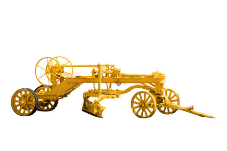 grader: Antique road grader isolated on a white background with a complex clipping path.