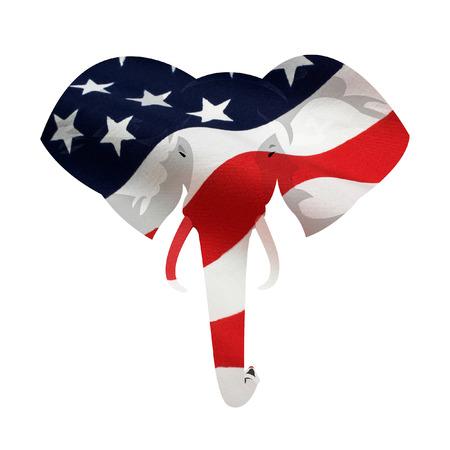 Kaart verplaatsing van Amerikaanse vlag op de Republikeinse olifant symbool. Geïsoleerd op een witte achtergrond. Stockfoto