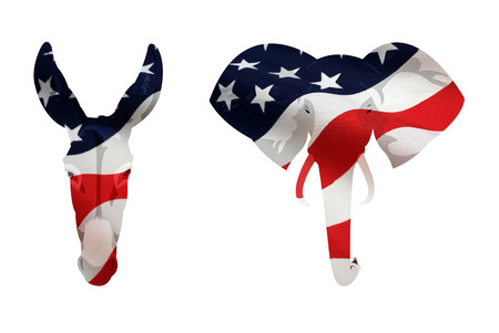 Map displacement of American flag on the Democrat donkey and Republican elephant symbol. Isolated on white background. Archivio Fotografico