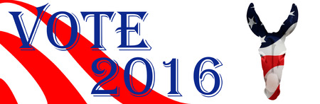 gop: Bumper sticker supporting Democrats for the 2016 Presidential election in the USA. Stock Photo