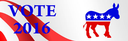 gop: Democrat bumper sticker for the 2016 Presidential election in the USA. Stock Photo