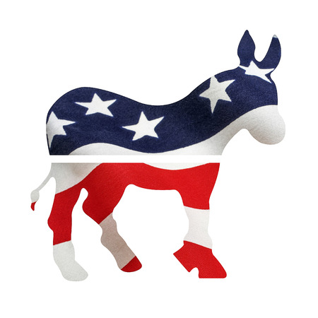 gop: Democrat donkey with American flag superimposed on it. Isolated on a white background with a clipping path. Stock Photo