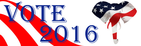 electing: Bumper sticker supporting Republicans for the 2016 Presidential election in the USA.