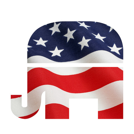 gop: American flag superimposed on the Republican elephant symbol. Isolated on white with a clipping path Stock Photo