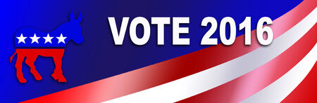 Democrat bumper sticker for the 2016 Presidential election in the USA, with room for candidate name.