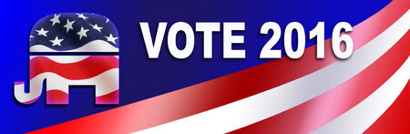 gop: Republican bumper sticker for the 2016 Presidential election in the USA, with room to add candidate name. Stock Photo