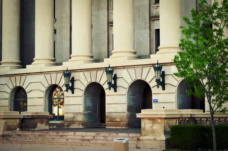 accused: Columns and entrance to the weld county court house in Greeley, Colorado USA.