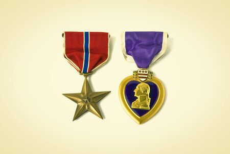 valor: USA army medals for valor and wounds from active combat. Retro instagram look.