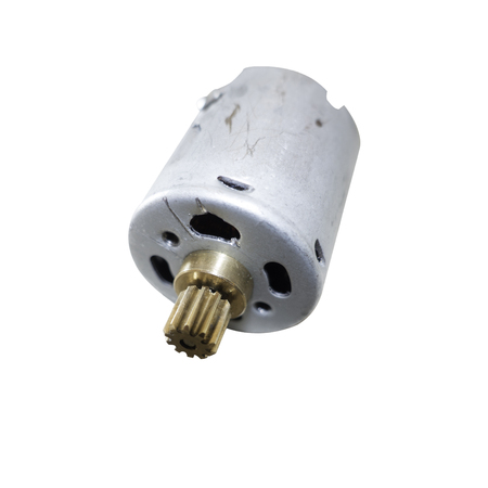 electric current: Close up photograph of a small electric motor of the type used in childrens remote toys. With a clipping path.
