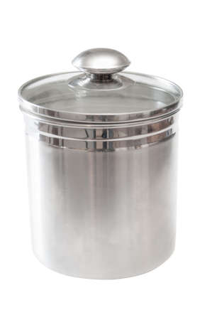 brushed aluminium: Kitchen canister to hold dry materiel such as sugar or flour. Stock Photo