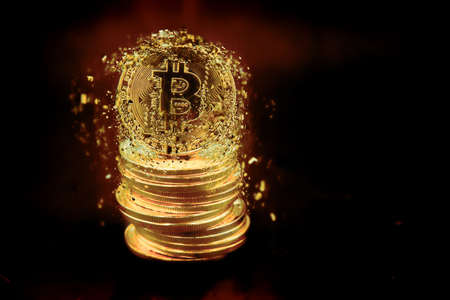 Representation of many colored and illuminated bitcoin coins. Feeling of power and wealth. Cybercurrencies have been found.