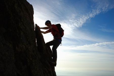 Male climber, Rock-climbing sport, horizontal orientation, day light photo