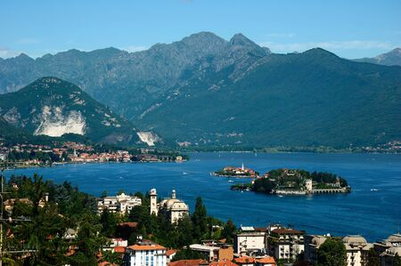 maggiore: View of the coastline of Lago Maggiore, Italy. Stock Photo