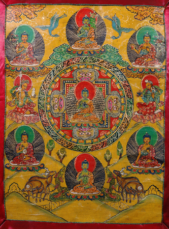 processions: Antique Thangka: is a painted or embroidered Buddhist banner which was hung in a monastery or a  altar and carried by lamas in ceremonial processions.