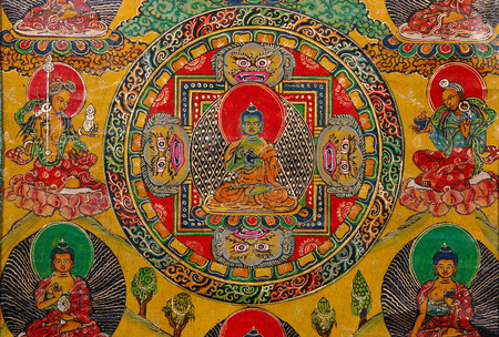 embroidered: Antique Thangka: is a painted or embroidered Buddhist banner which was hung in a monastery or a  altar and carried by lamas in ceremonial processions.