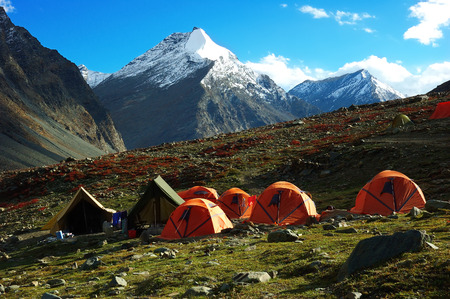 Trekking camp in Ladakh region, Himalaya, India.              Stock Photo - 1415348