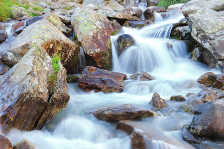 turbulent: Little brook mountain waterfall, summer season