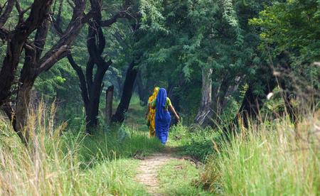 haryana: Indian women walking along a path, Sultanpur Bird Sanctuary, Haryana, India.