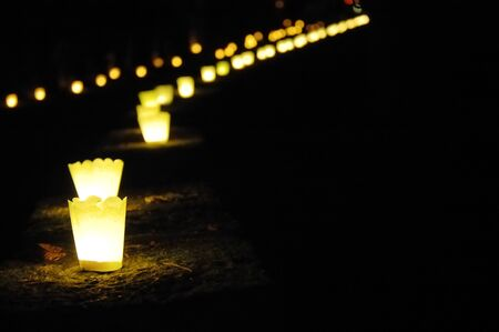 burns night: Long row of candles along a park path Stock Photo