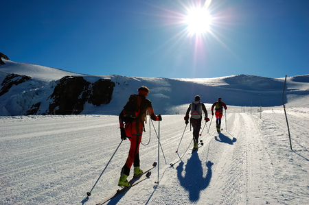 skiers: Group of backcountry skiers (ski touring), west alps, Europe. Stock Photo