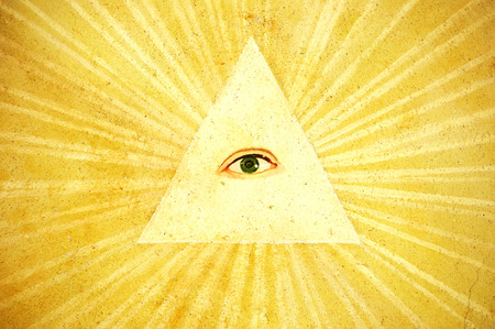Ancient painting of Gods eye, north Italy photo