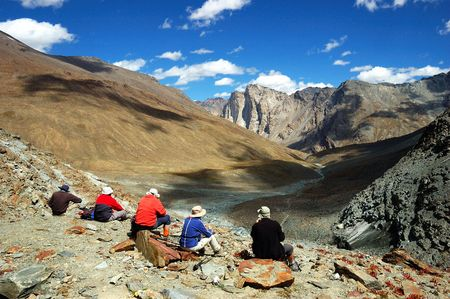 Trekkers during a break, zanskar valley, Ladakh, India
