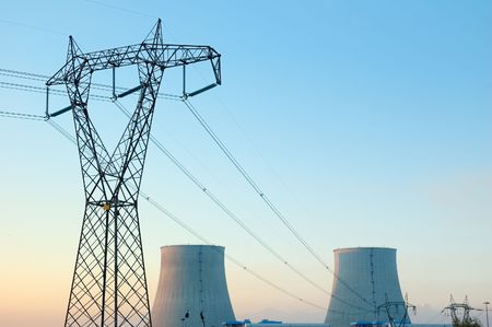 Power line in front of a nuclear power plant Stock Photo - 2068432