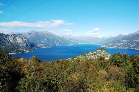 como: View of coastline of Como Lake, Italy Stock Photo