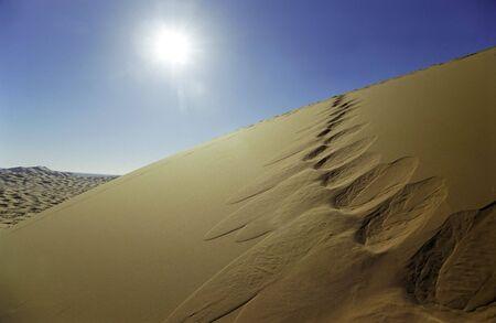 footprints along big sand dunes in sahara desert, Africa. photo