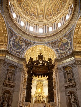 basilica of saint peter: Interior of Saint Peters dome (Basilica di San Pietro) Vatican Town, Rome, Italy.
