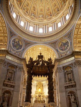 saint peter: Interior of Saint Peters dome (Basilica di San Pietro) Vatican Town, Rome, Italy.