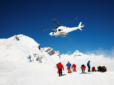 Skiing Helicopter, Mont Blanc ski resort, France, Europe.