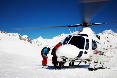 blanc: Skiing Helicopter, Mont Blanc ski resort, France, Europe.