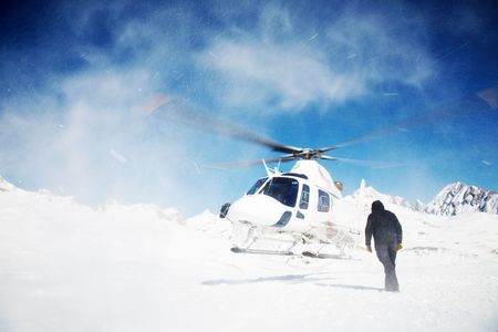 rescue helicopter: Skiing Helicopter, Mont Blanc ski resort, France, Europe.
