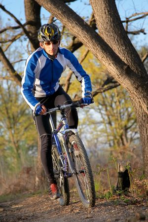 single track: A male mountain biker on a single track trail in the woods. Stock Photo