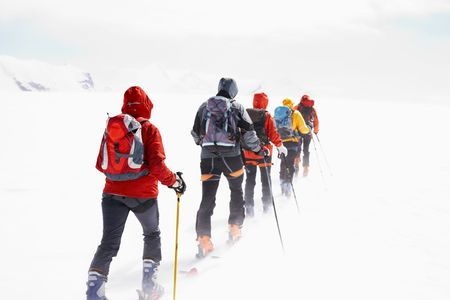 Group of alpine touring skiers on the big Verra Glacier; in background the peaks of Castore and Polluce. MonteRosa, Swiss-Italy border. Stock Photo - 2978827