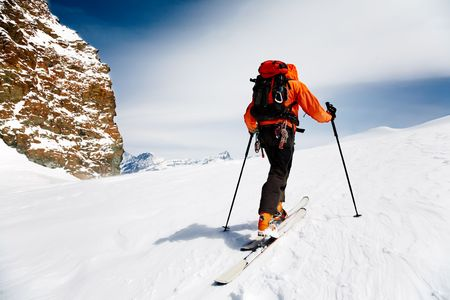 Lone Alpine Touring Skier. MonteRosa, Swiss-Italy border. 스톡 콘텐츠
