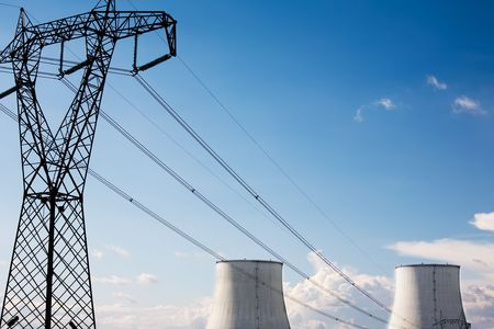 Power line of a nuclear power station; daylight. Stock Photo - 3142451