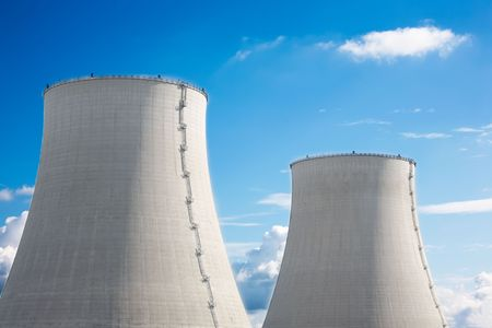 Detail of the twin cooling towers, nuclear power plant. photo