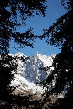 courmayeur: El famoso agudo pin�culo de la Dent du Gant, Macizo de Mont Blanc, Courmayeur, Italia. Wiki: http:en.wikipedia.orgwikiDent_du_Gant Foto de archivo