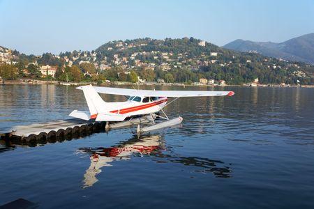como: Parked seaplane, italian lake of Como, Italy, Europe