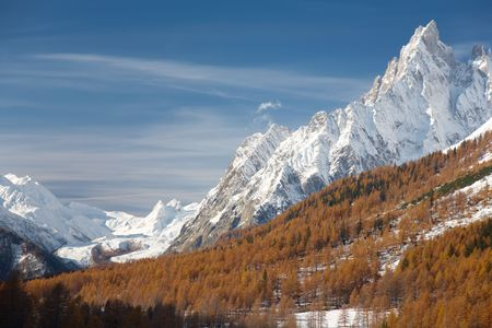 noire: Mountain landscape in fall season: Aiguille Noire de Peuterey, south side of Mont Blanc massif; Italy, Europe. Stock Photo