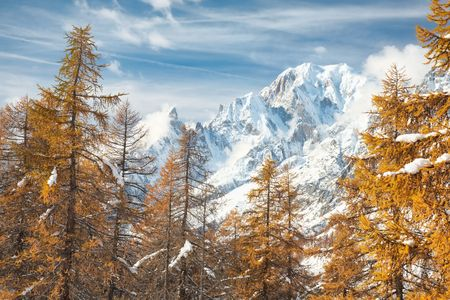 Mountain landscape in fall season: south side of Mont Blanc; Italy, Europe. photo